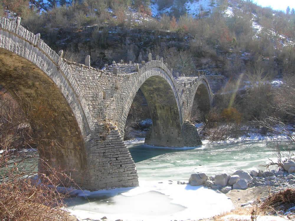 Kalogeriko Bridge in wintertime