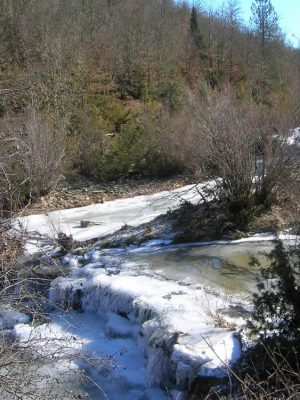 Aoos river in snow