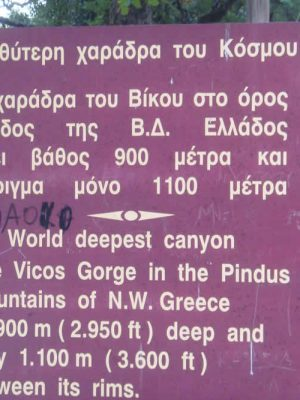 Vikos Gorge, the deepest gorge in the world